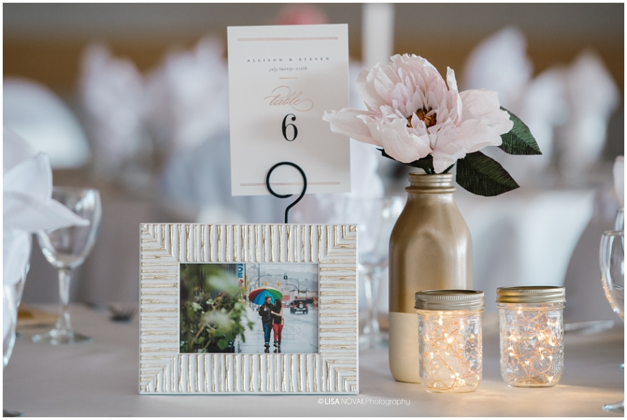 summer wedding TRU Kamloops BC vintage chic reception First Comes Love decor Hunter Thistle paper flowers tablescape