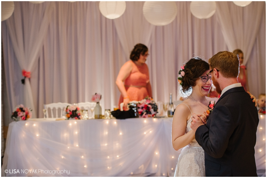 summer wedding reception TRU Kamloops BC vintage chic BC photographer first dance