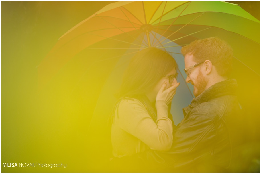 Vancouver fall engagement photographer session rain rainy day umbrella yellow joy