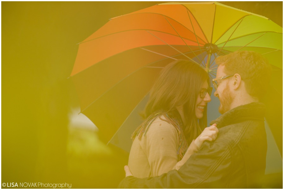 Okanagan fall engagement photographer session rain rainy day umbrella yellow joy