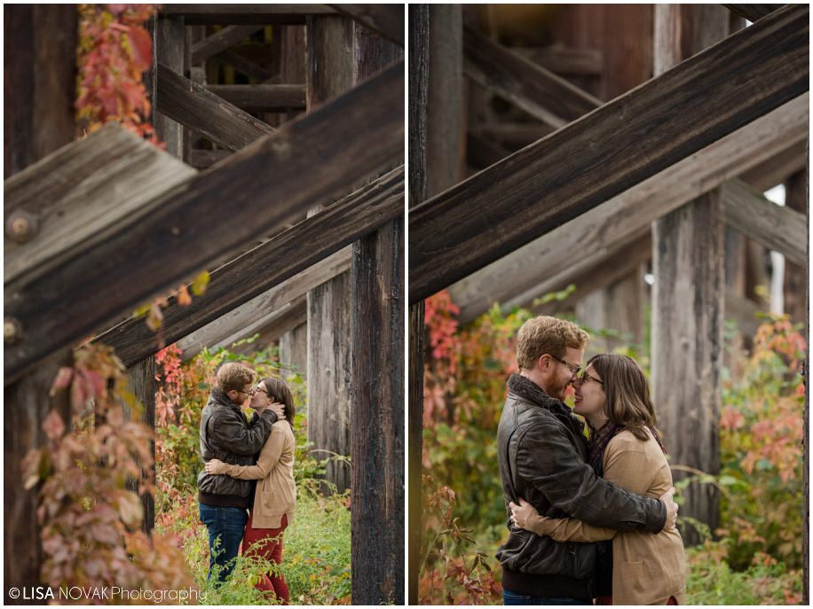 Kamloops fall engagement session bridge colors couple autumn colors red orange