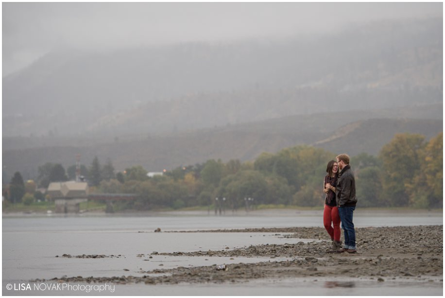 Vancouver BC fall engagement session rain clouds mountain river water stolen moment colors couple documentary