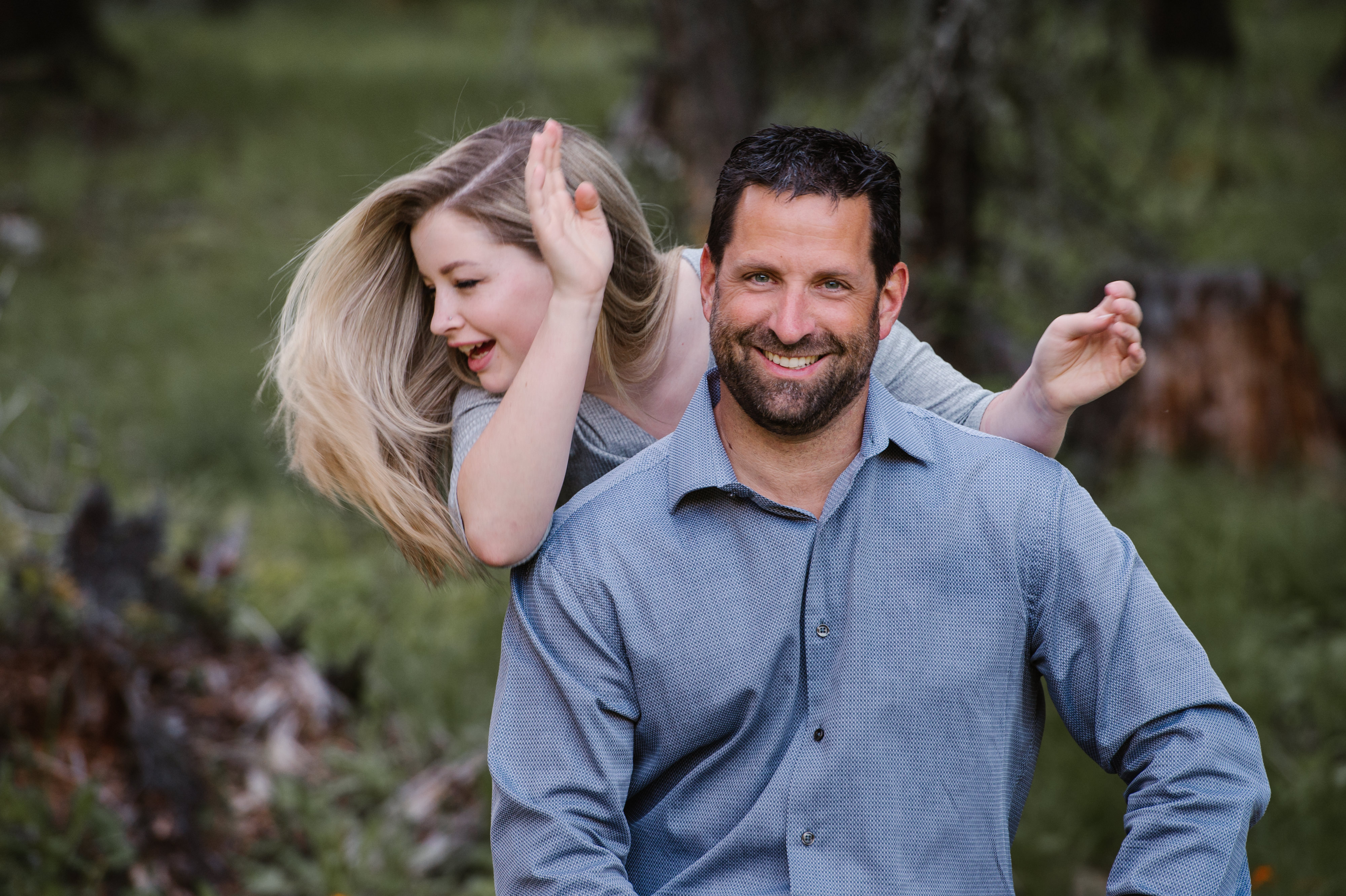 Harper Mountain portrait session family father daughter moment golden hour sunshine Kamloops photographer outtake BTS behind the scenes