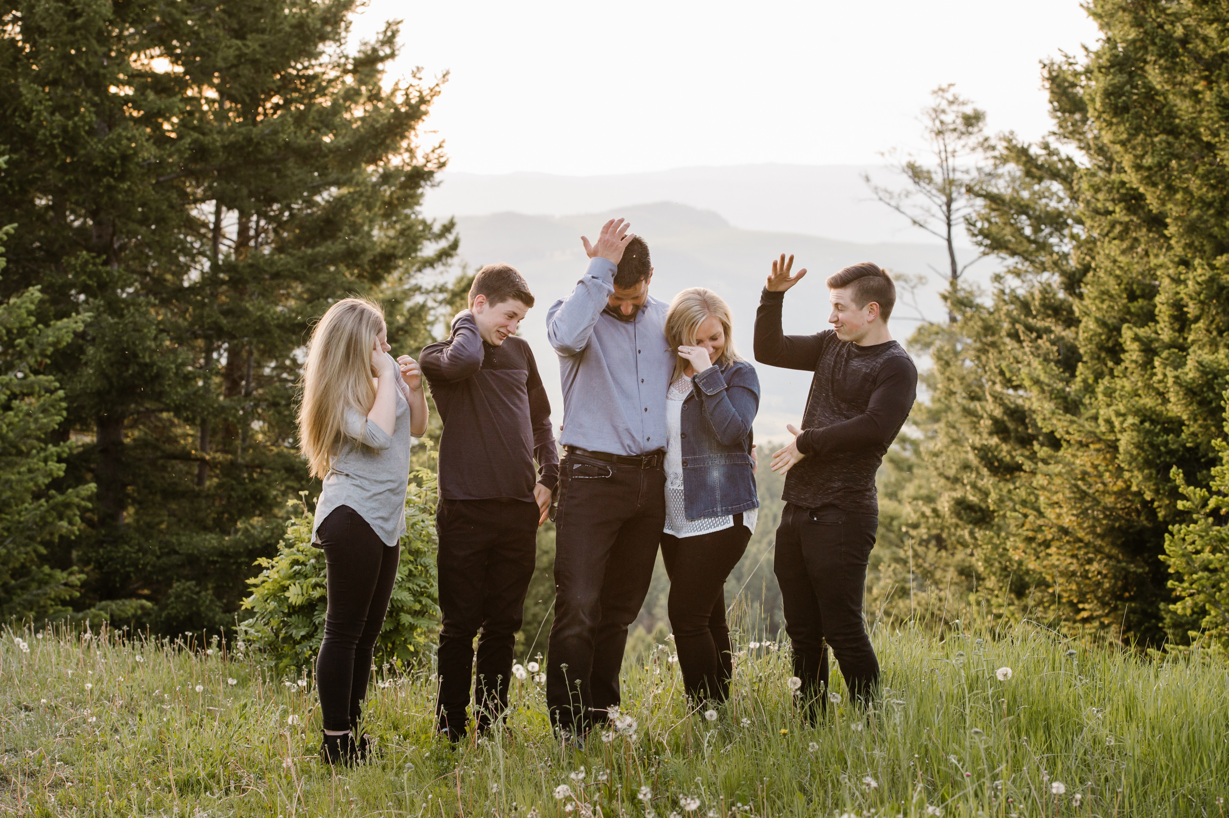 Harper Mountain family session golden hour sunshine portrait BTS behind the scenes beautiful summer evening Kamloops photographer