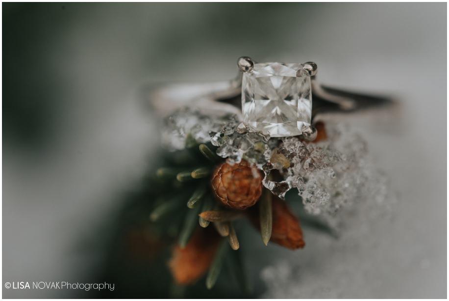 Winter shoot wedding details engagement ring macro shot