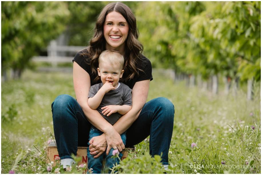Okanagan lifestyle family session apple orchard toddler Summerland photographer mom son portrait