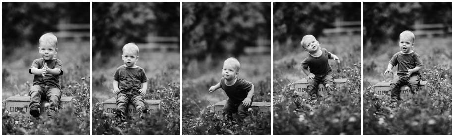 Okanagan lifestyle family session apple orchard toddler Summerland photographer portrait grass toddler black and white