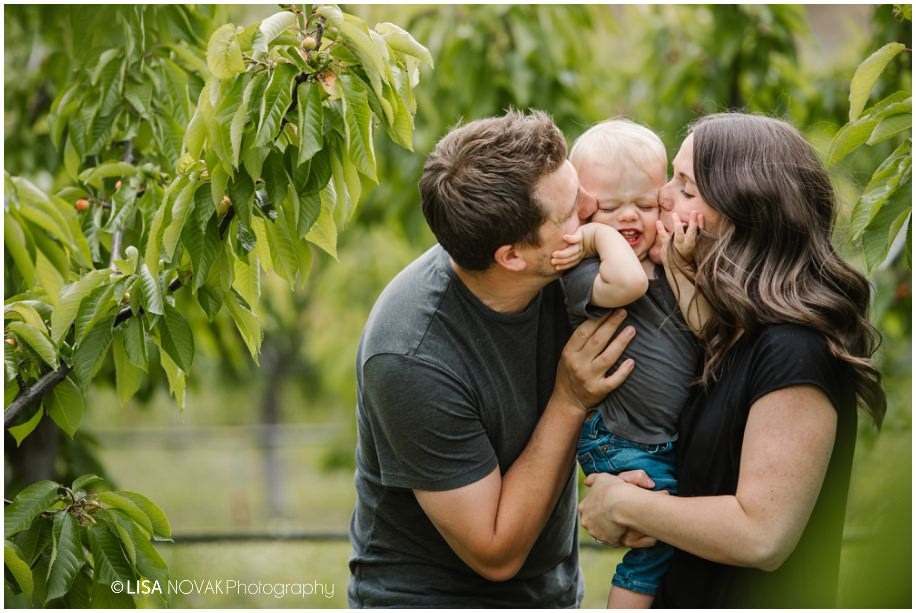 Okanagan lifestyle family session apple orchard toddler Summerland BC photographer candid moment toddler play