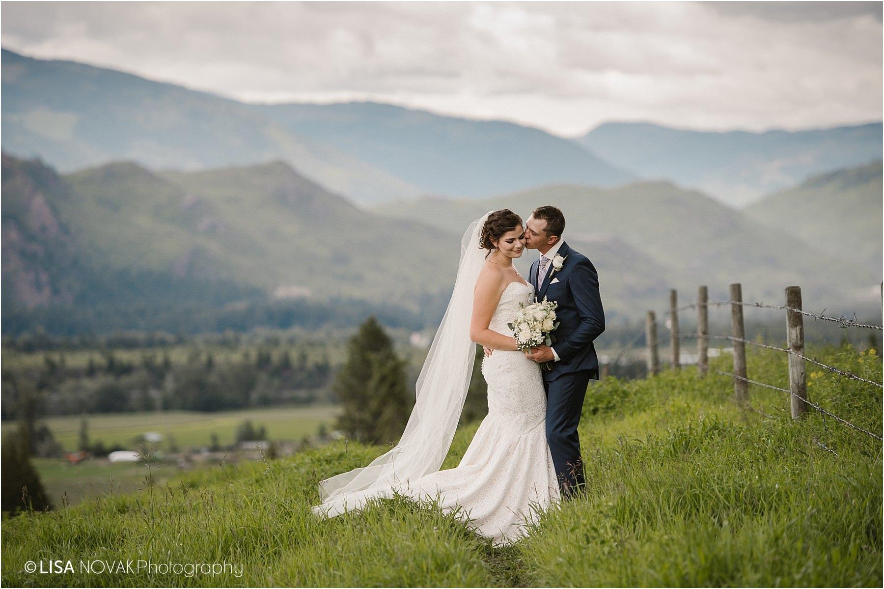 Okanagan wedding photographer BC Interior bride groom romantic epic mountain bridal portraits intimate BC summer wedding
