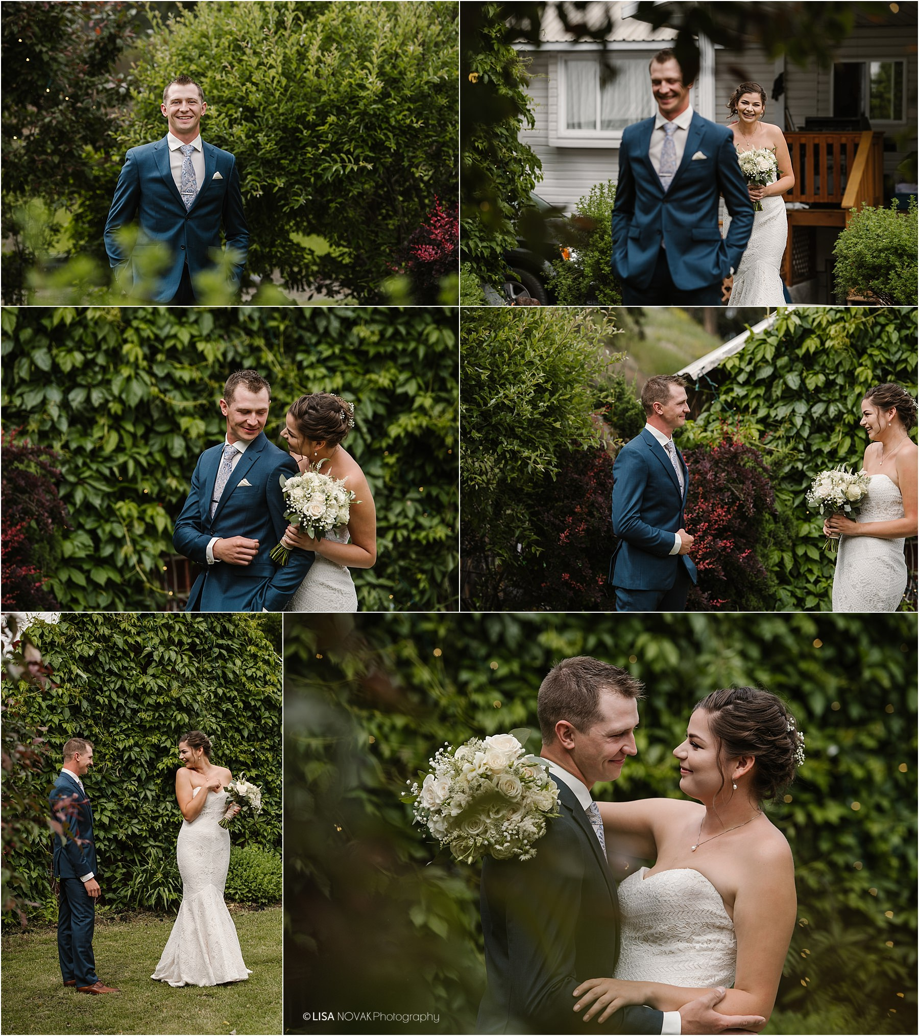 BC Interior wedding photographer bride groom romantic garden first look blue tux roses