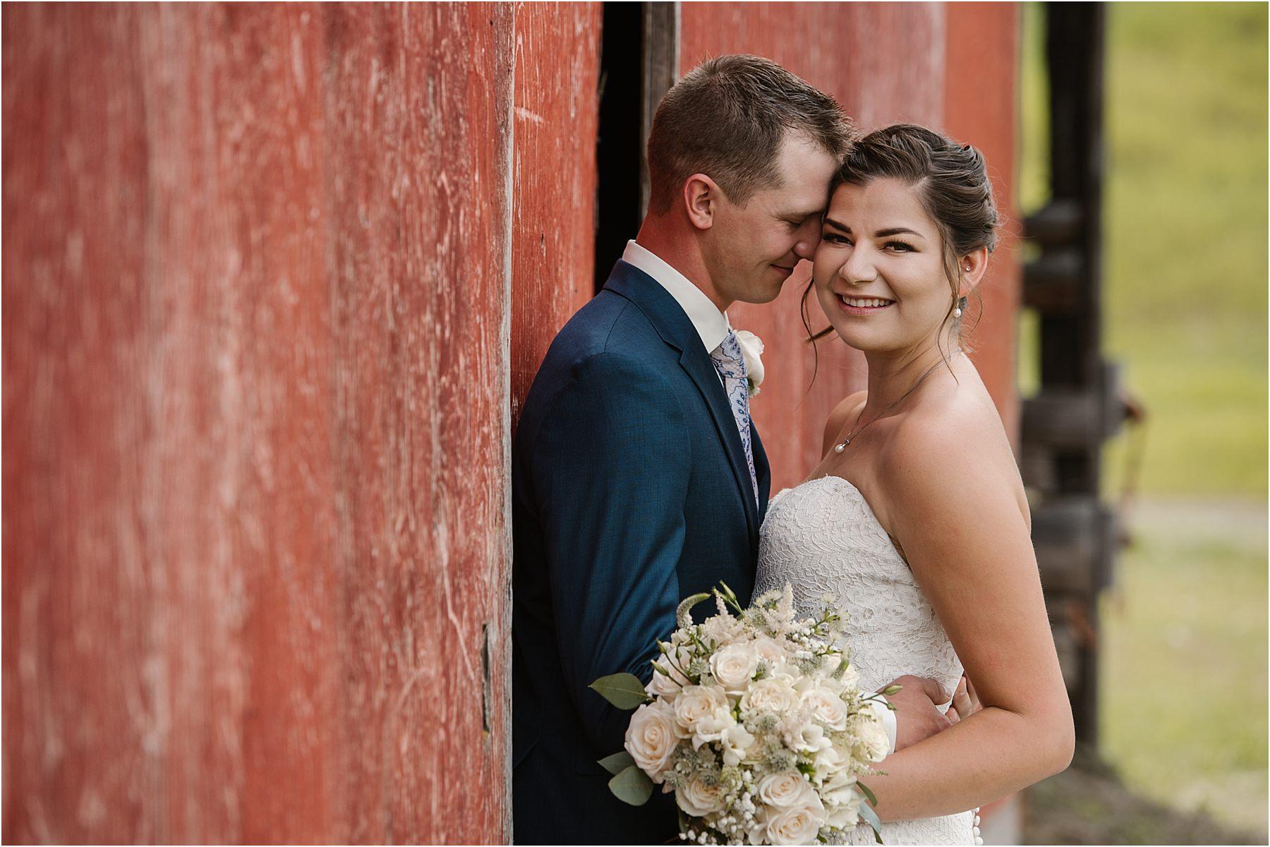 Okanagan country wedding photographer BC Interior bride groom romantic bridal style portraits blue tuxedo