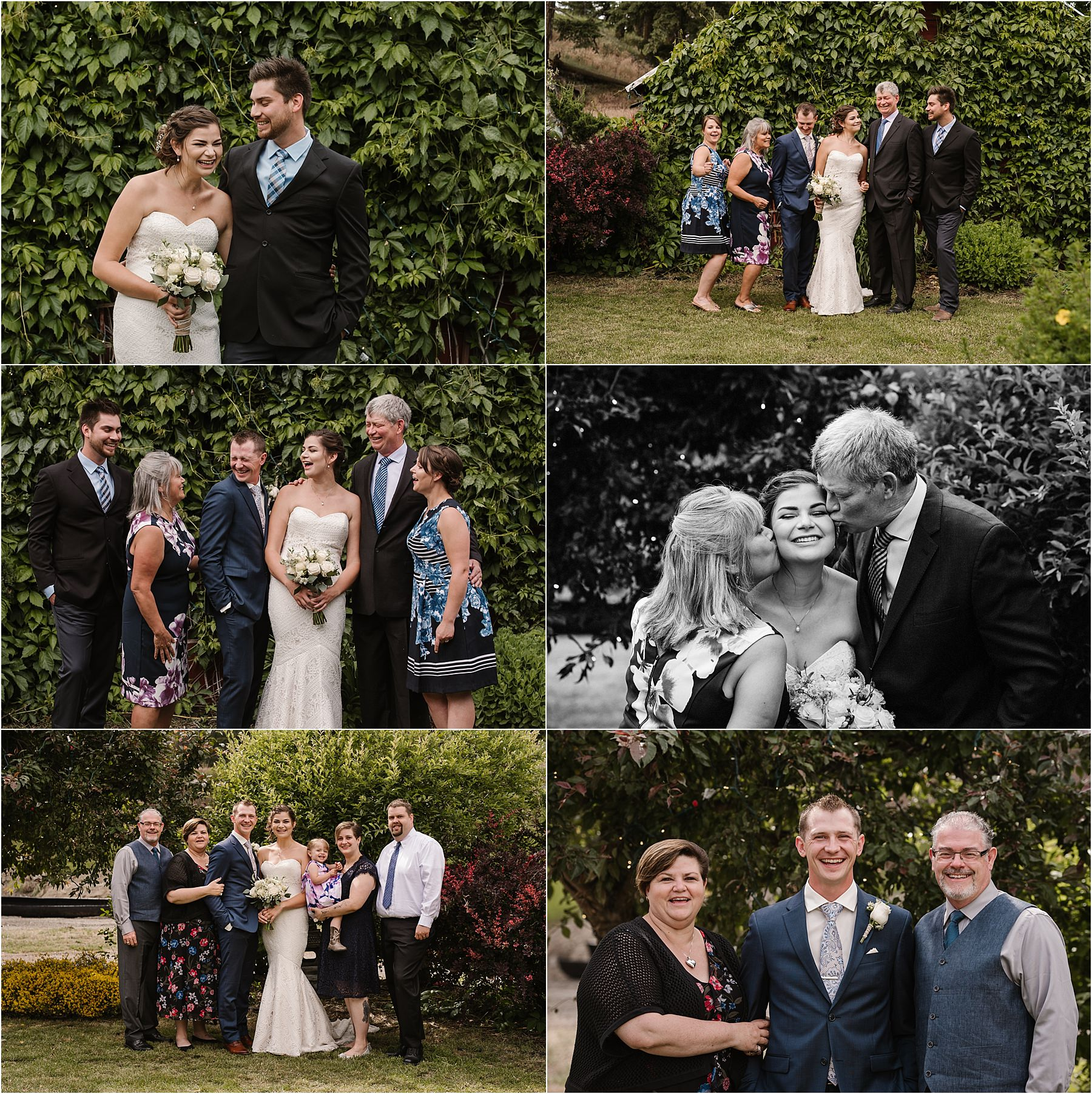 BC Interior wedding photographer fun family photos laughter garden