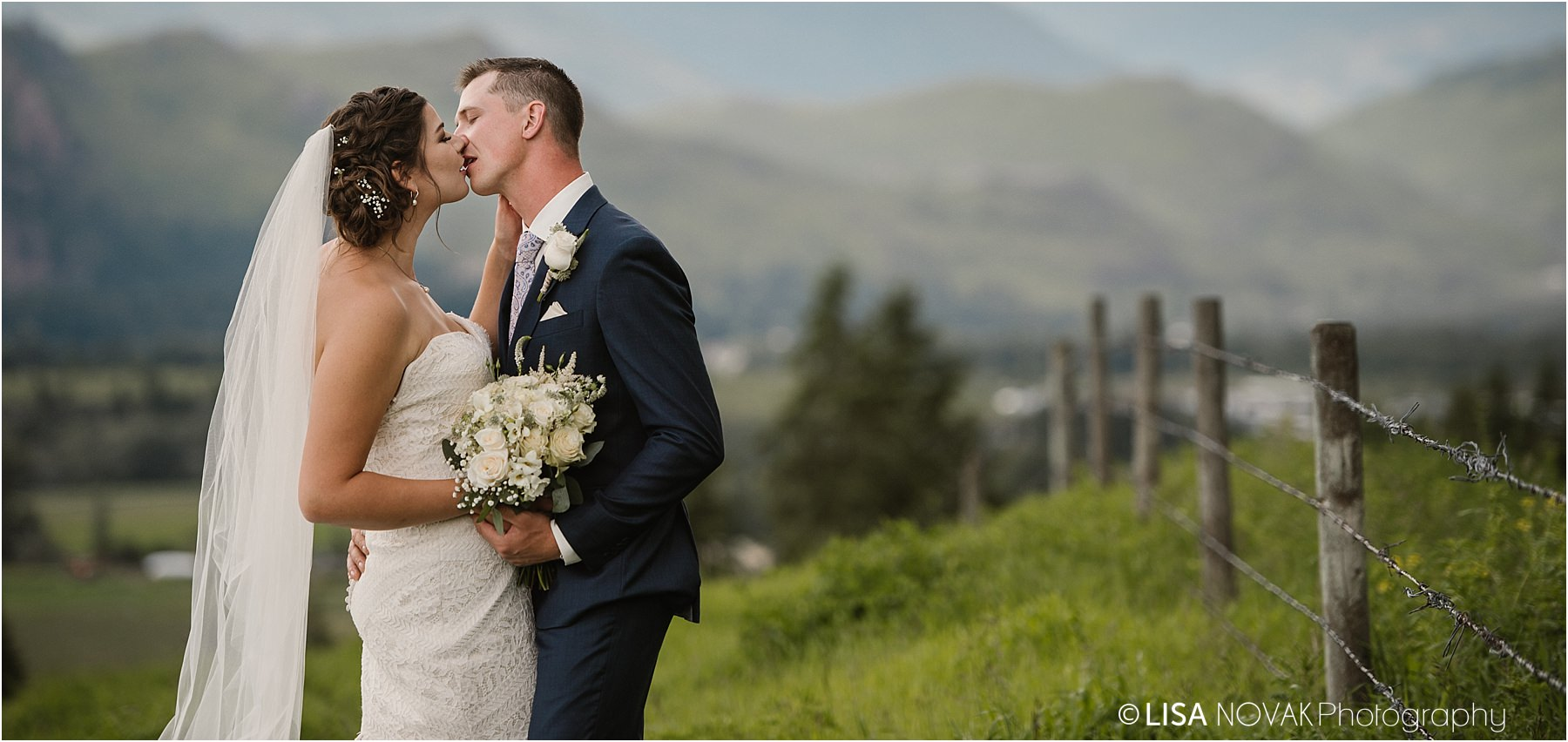 Okanagan wedding photographer beautiful views mountains valley bride groom romantic bridal portraits