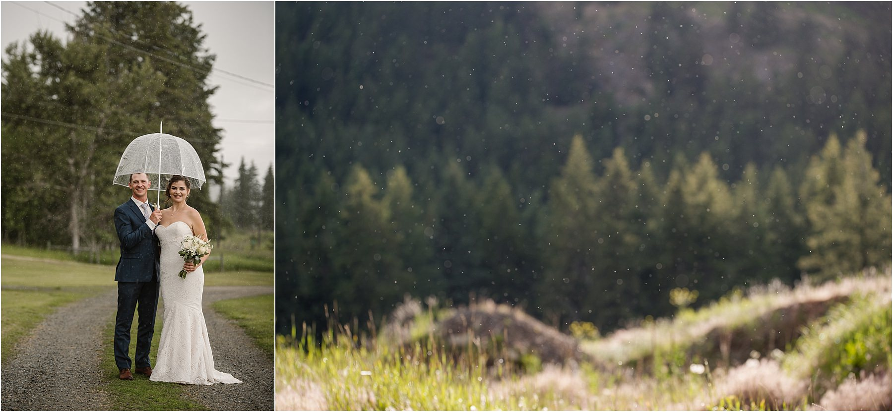 rainy Barriere BC wedding portrait photographer views bride groom romantic bridal portraits umbrella