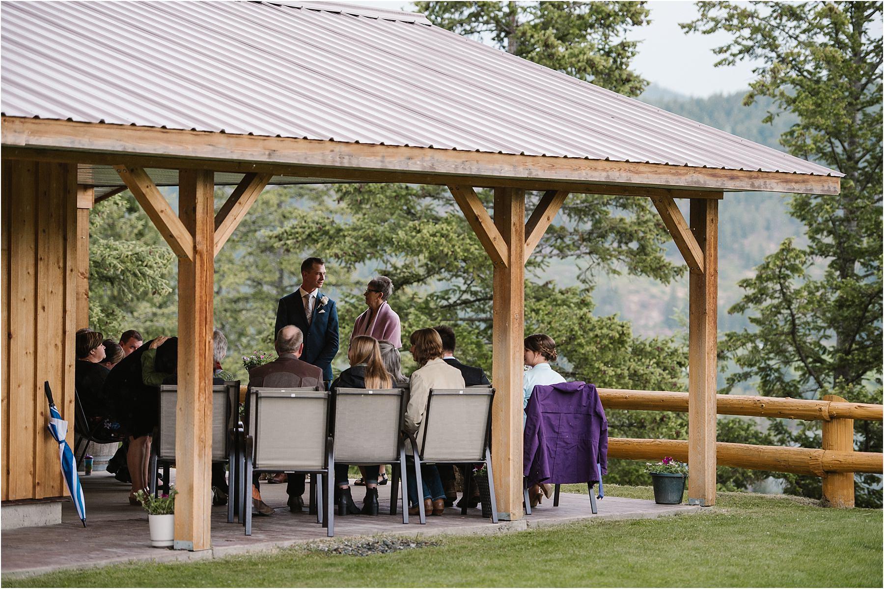 Okanagan wedding photographer ceremony rainy plan B intimate day groom