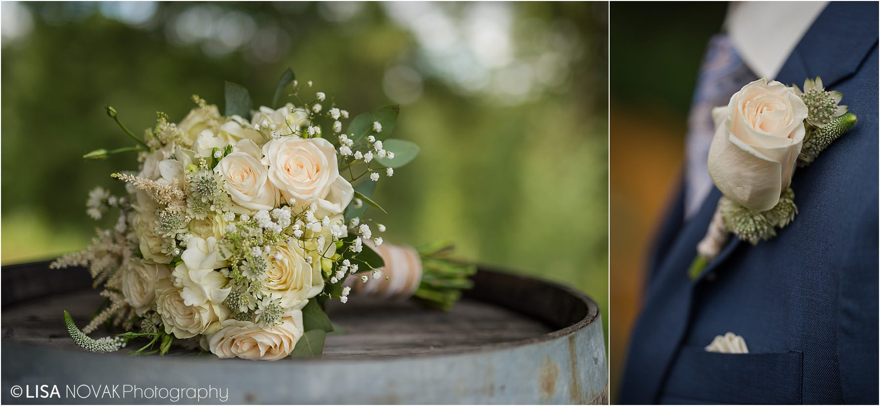 Kamloops wedding photographer details detail shot bouquet burlap lace cream green roses astilbe boutonniere blue tux tuxedo groom style