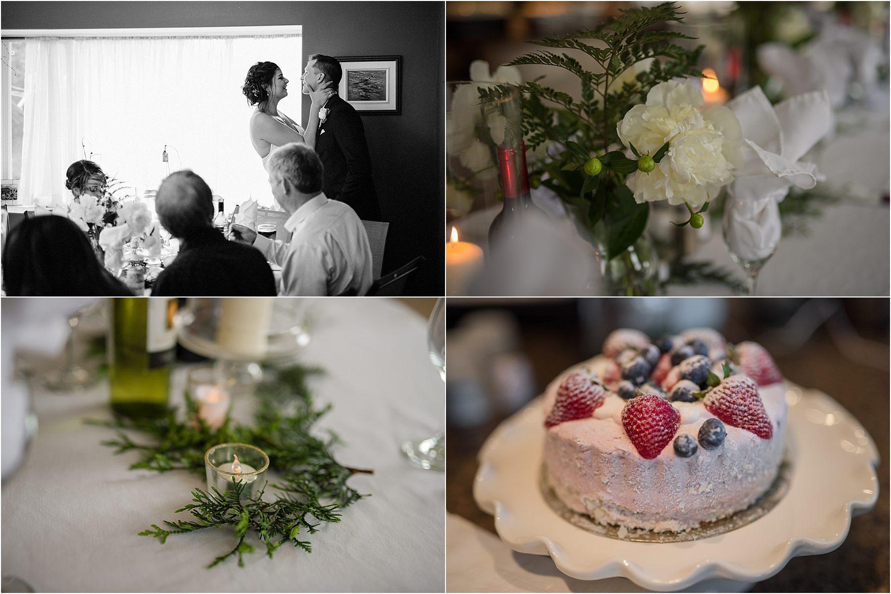 Kamloops wedding photographer details detail shot intimate reception venue ideas dinner florals pine centerpieces cake berries