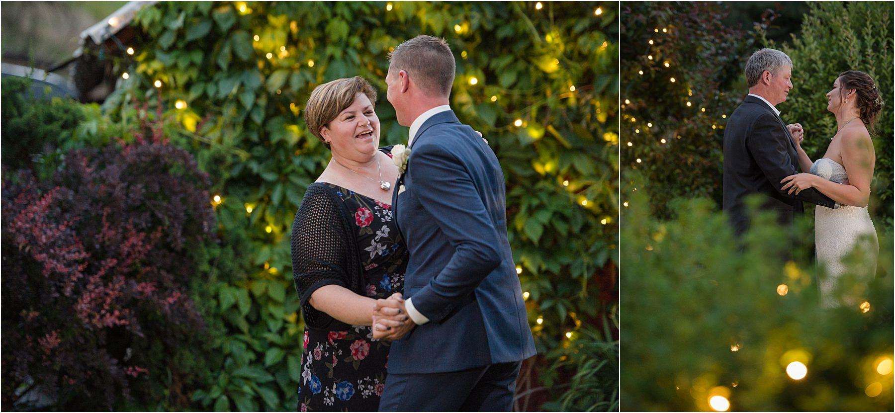 Kamloops wedding photographer reception venue ideas first dance parent dances twinkle lights evergreen garden