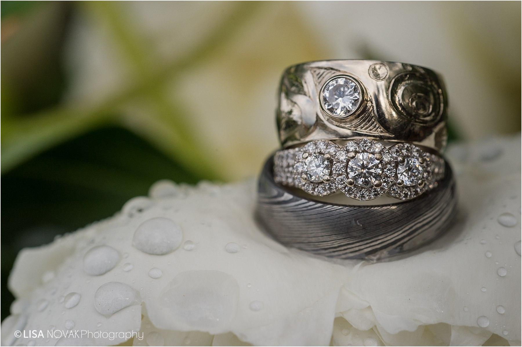 Kamloops wedding photographer details detail shot custom rings macro shot ideas inspiration garden peonies raindrops detail shot