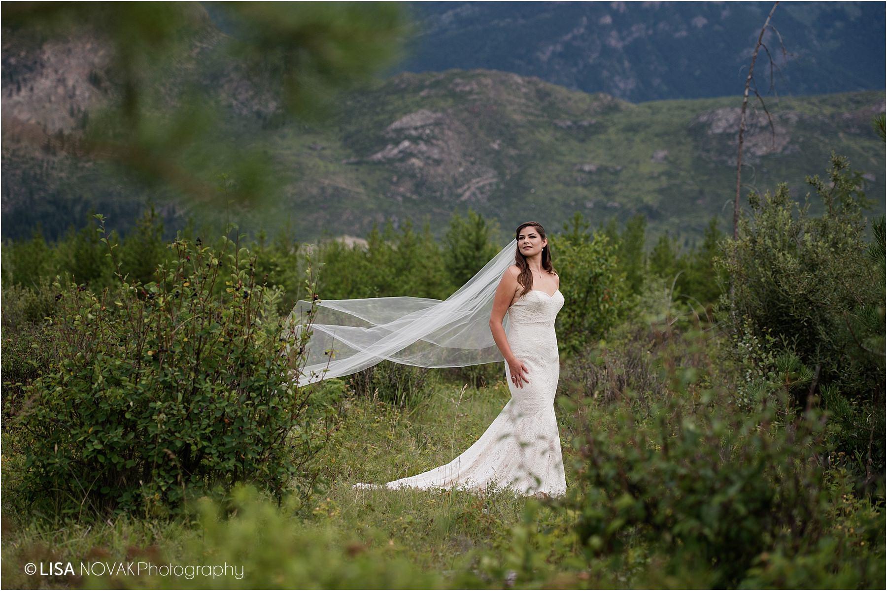 Stunning bridal portrait mountain session Barriere trash the dress photographer bride bridal portraits portrait