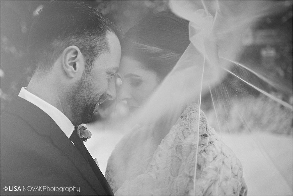 Canadian destination winter wedding BC ski resort Sun Peaks veil shot black white romance