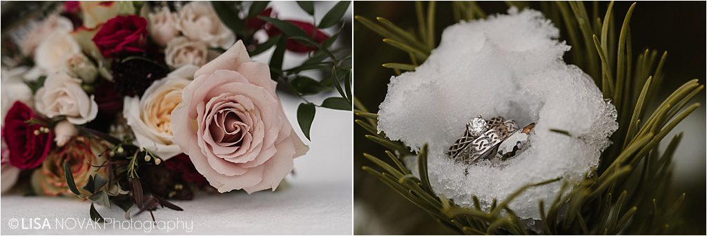 Destination winter wedding Sun Peaks wedding details antique roses bouquet ring shot macro snow