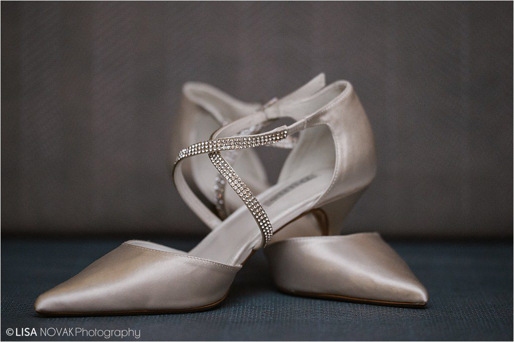 Destination winter wedding Sun Peaks Grand bride shoes detail shot diamonds luxe