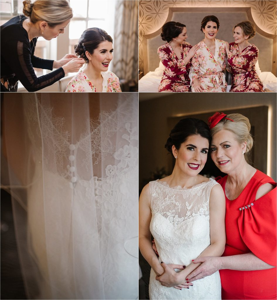Destination winter wedding Sun Peaks Grand bride bridesmaids preparations burgundy details wedding dress luxe