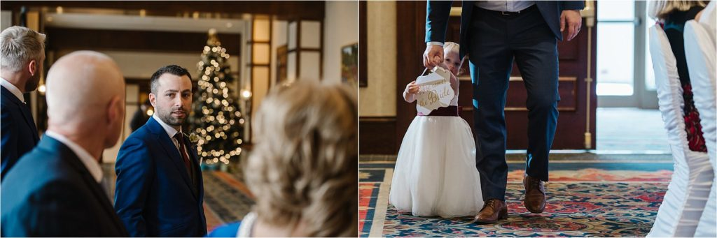 Destination winter wedding Sun Peaks Grand wedding ceremony groom flower girl family