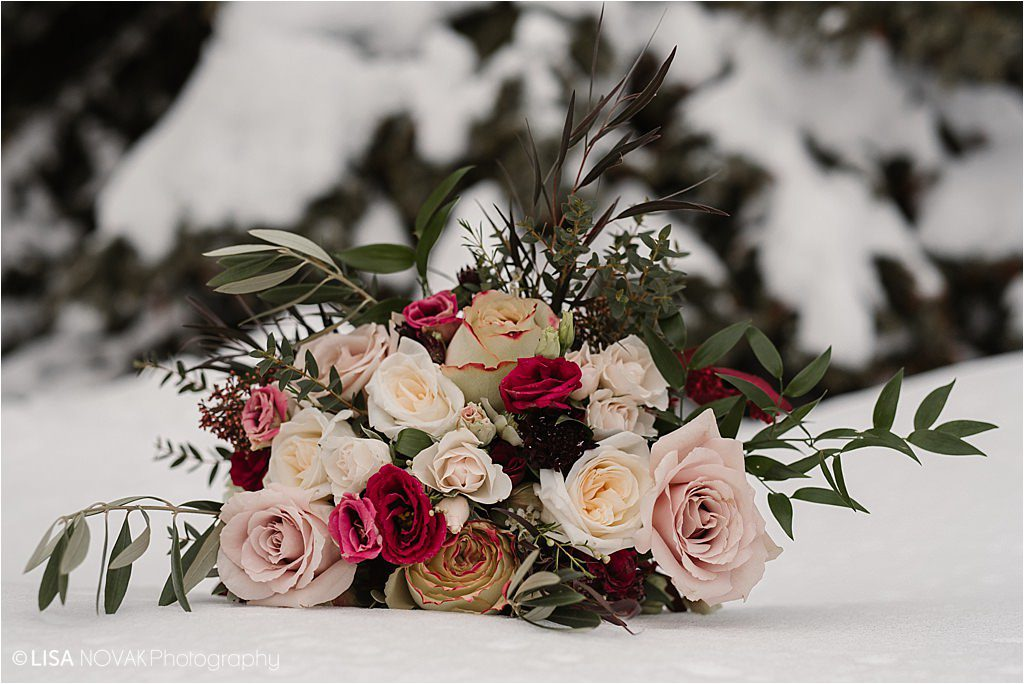 Destination wedding Canada Sun Peaks Resort bridal details florals Brandy Maddison Events roses snowy