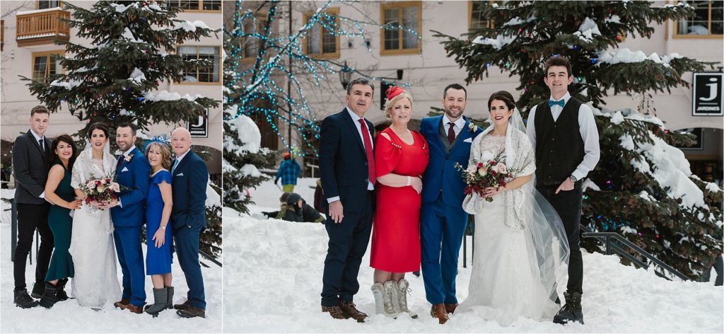 Destination winter wedding Sun Peaks Grand terrace wedding family portraits outside