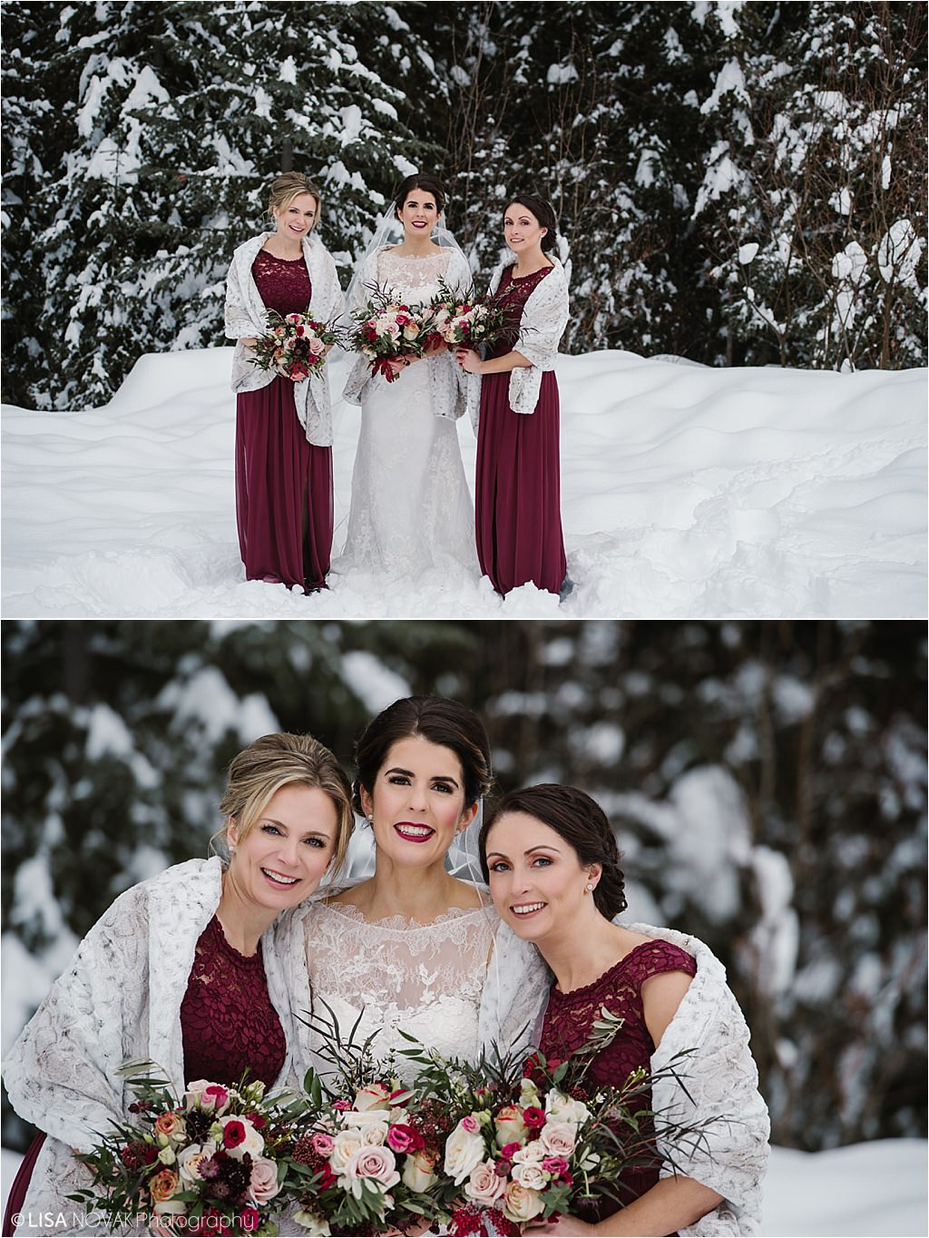 Destination winter wedding Sun Peaks Resort bridesmaids fur stole burgundy dresses