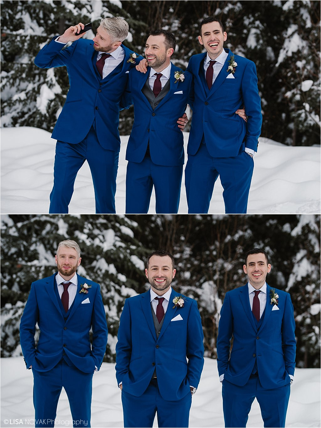 Destination winter wedding Sun Peaks Resort groomsman pose ideas blue suits snowy