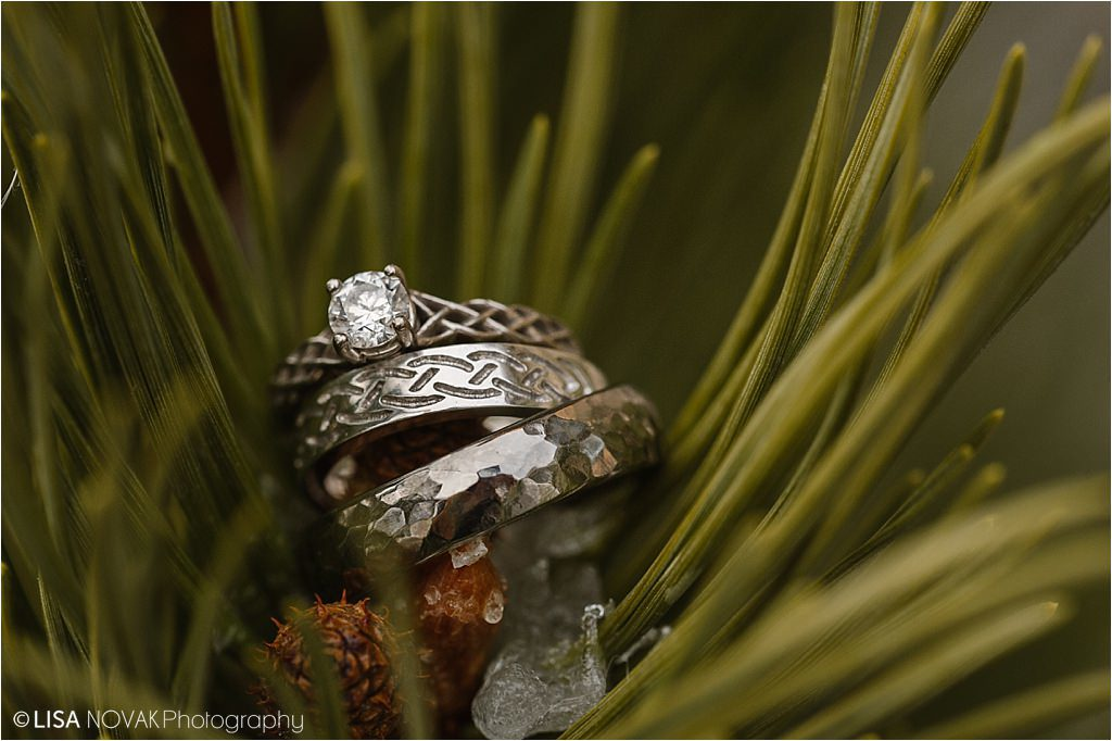 winter destination wedding detail shot Irish rings macro photography evergreen creative Canada