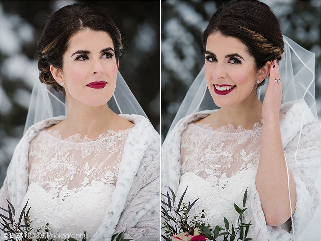 Sun Peaks Resort winter Irish wedding destination bridal portrait beautiful bride Looks by Laine makeup artist lace gown