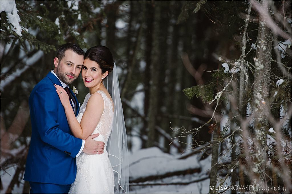 winter destination wedding BC Kamloops Sun Peaks forest bridal portrait bride groom