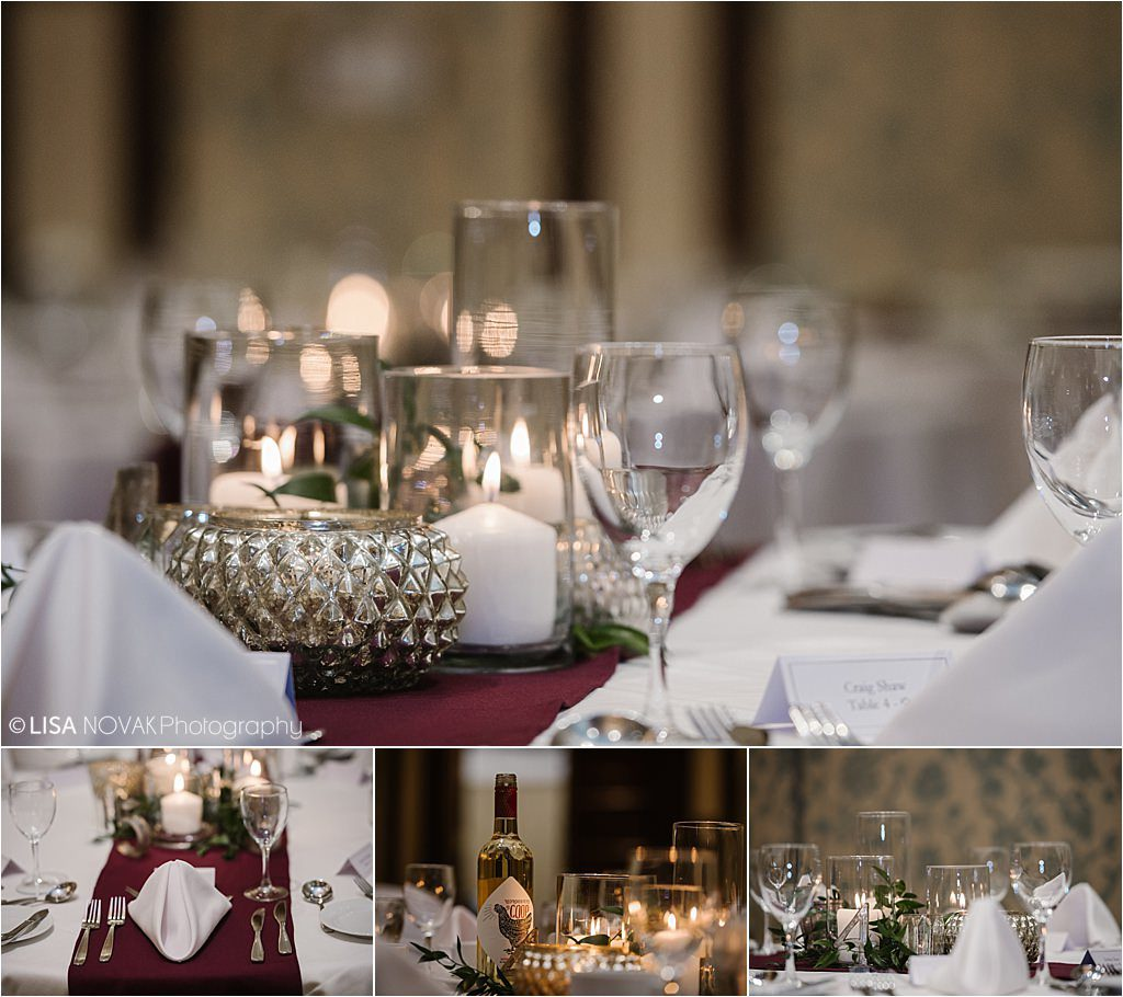 Sun Peaks Grand wedding reception decor Brandy Maddison Events burgundy green candles greenery pewter tablescapes