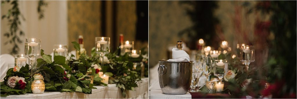 Sun Peaks Grand wedding reception luxe decor Brandy Maddison Events burgundy green florals roses candles greenery pewter tablescapes