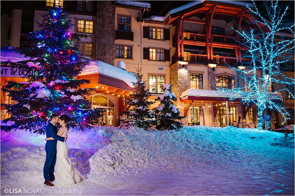 Sun Peaks Grand destination wedding night portrait specialized photography outside flash ski resort winter