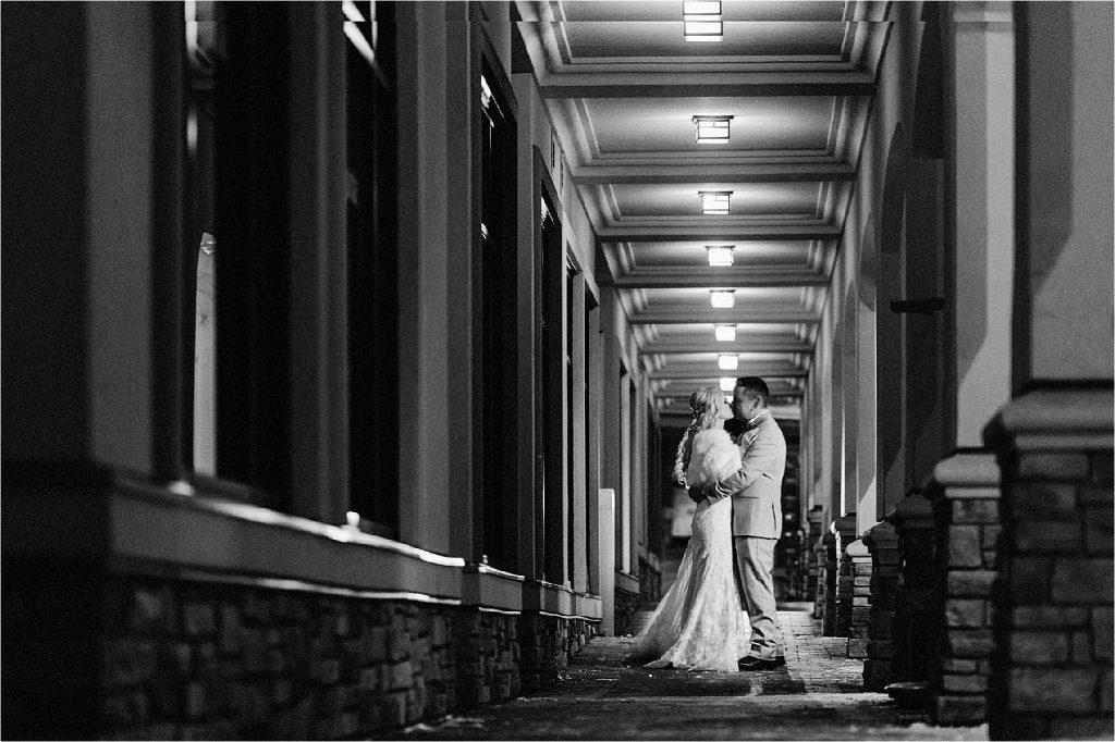 Bridal portrait at night in the beautiful Sun Peaks Resort, a destination winter wedding venue.