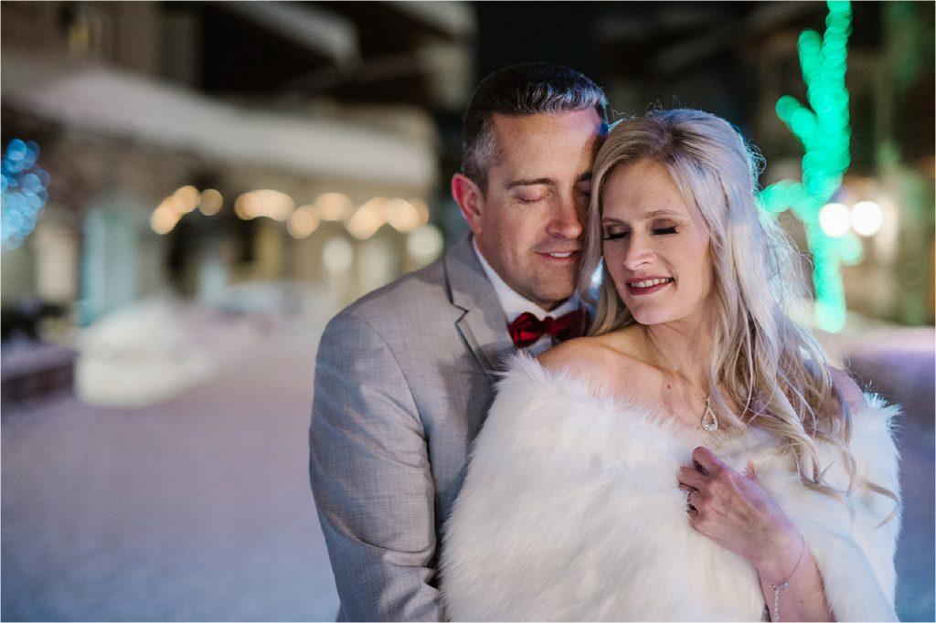 Kamloops best wedding photographer bride and groom portrait at night in Sun Peaks.