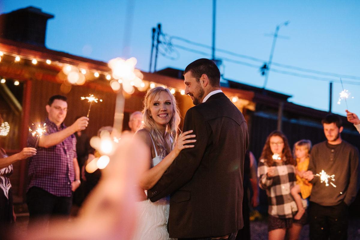 Kamloops wedding photographer sparkler first dance