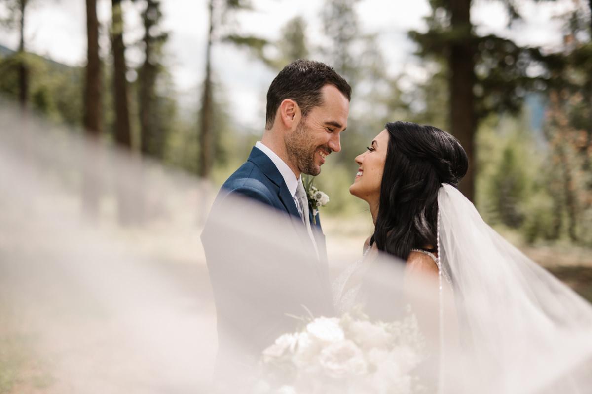 Shuswap wedding venue Quaaout Lodge Talking Rock Resort veil shot