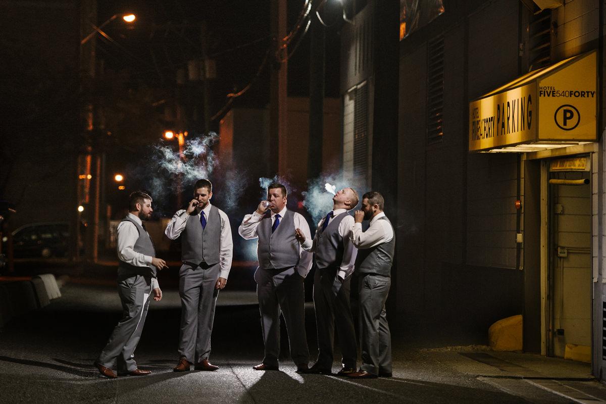 Epic groomsmen portrait night cigars