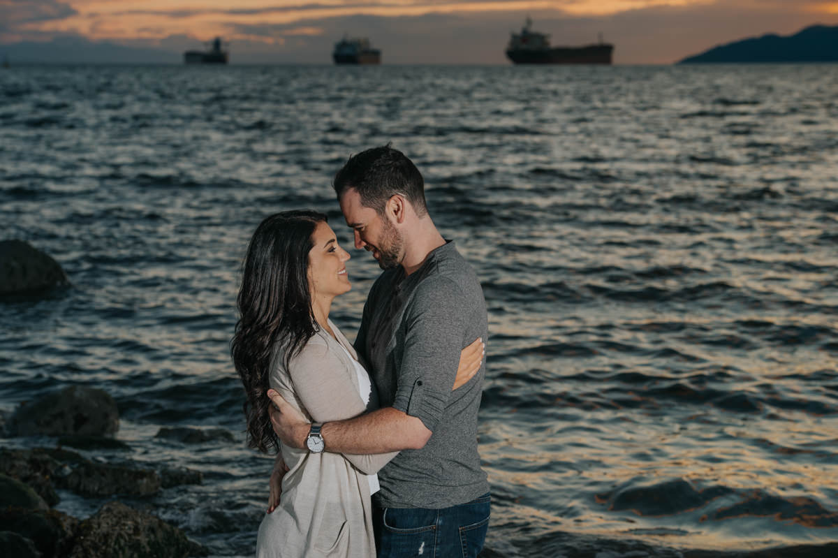 Vancouver engagement session Kitsilano Beach sunset
