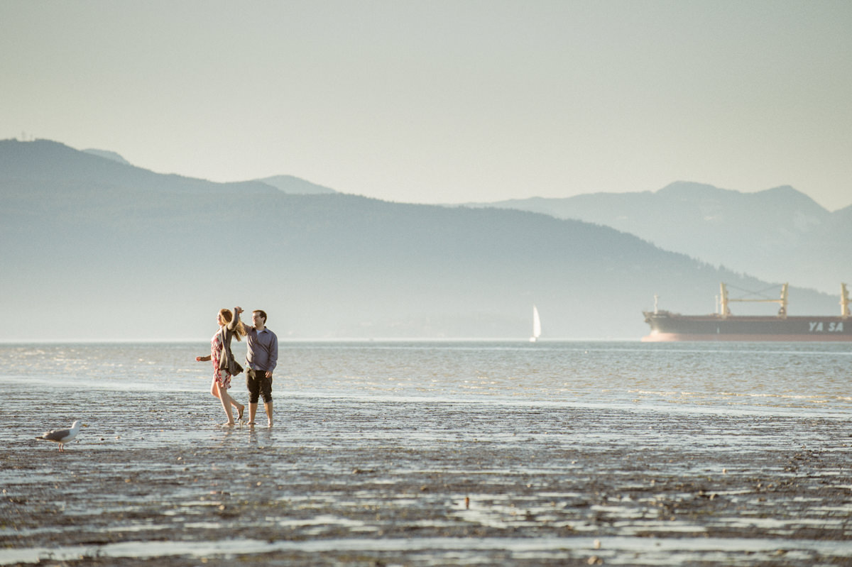 Vancouver Kitsilano engagement session dancing on the beach