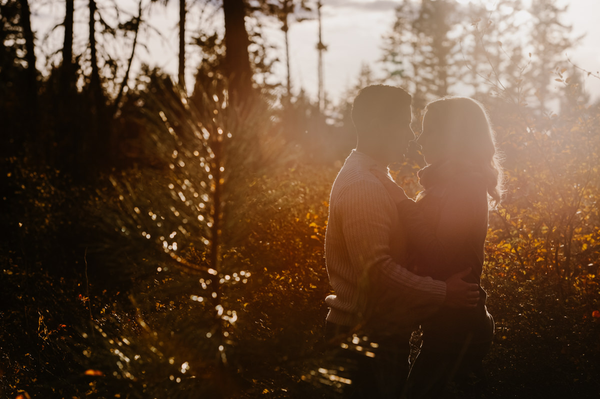 artistic sunset backlit engagement session