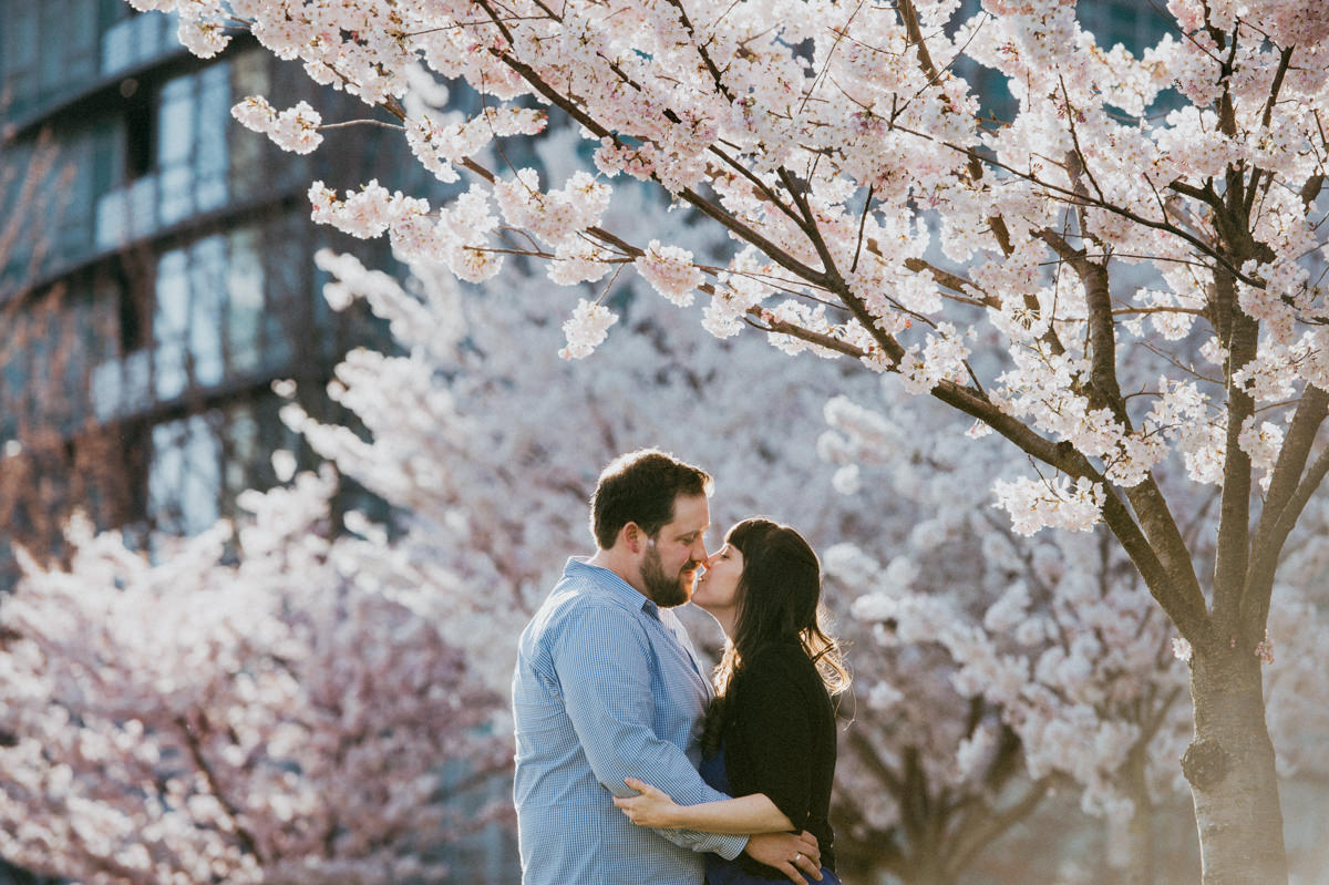 Vancouver engagement session cherry blossom festival