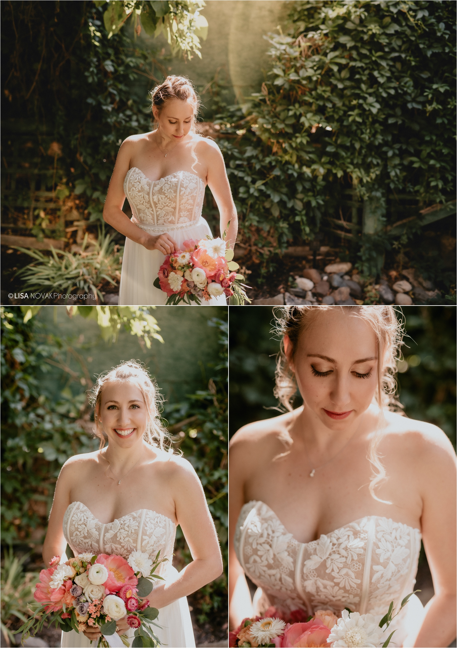 bridal portrait in the sunshine peach and pink florals anemone